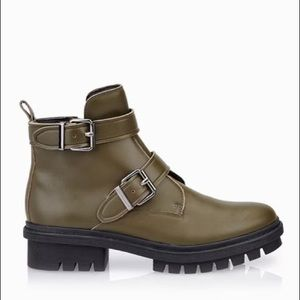 ALDO Leather Ankle Military Combat Boots